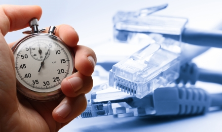 ethernet: Ethernet cable and stopwatch in hand