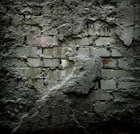 sheetrock: Brick stone wall with damaged sheetrock Stock Photo