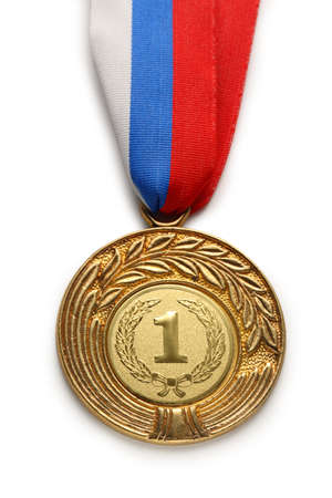 Metal medal with tricolor ribbon photo