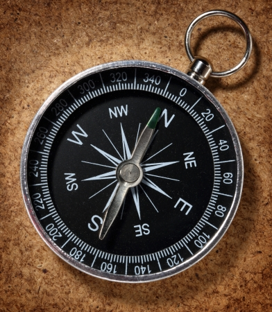 azimuth: Compass on kind of wooden paper background
