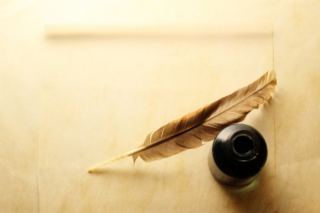 quill pen: Blank envelope with inkwell and feather
