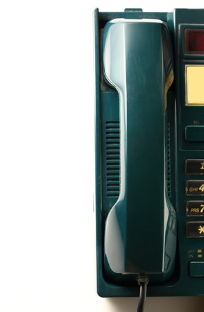 Stationary telephone receiver in closeup photo