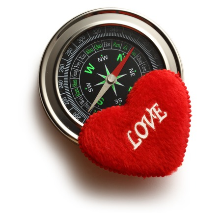 Compass and red heart with love word photo
