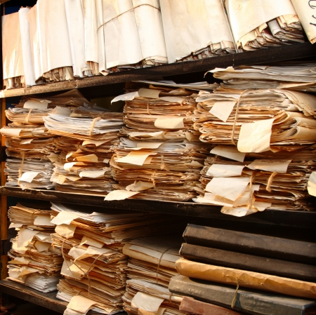 Paper documents stacked in archive Banque d'images