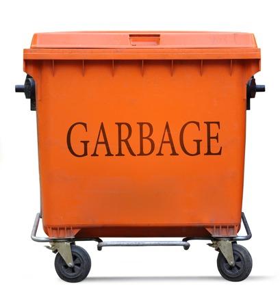segregate: Orange garbage bin on white