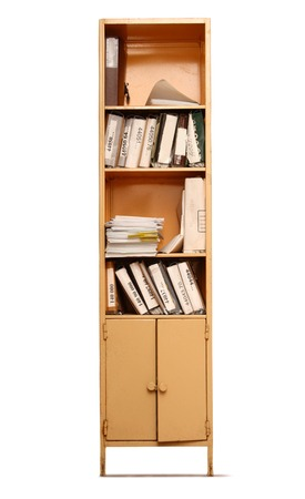 Office bookcase with data folders 스톡 콘텐츠