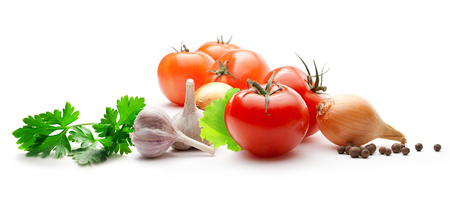 Tomatoes, onions, pepper, parsley and garlic