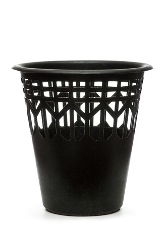 wastebasket: Empty black wastebasket on white Stock Photo