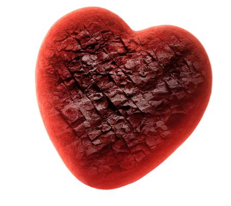 disregard: Red stone heart on white