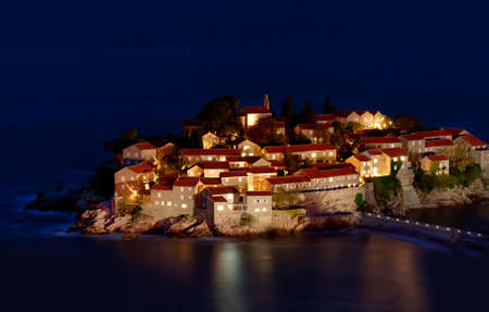 Sveti Stefan resort island in Montenegro at night photo