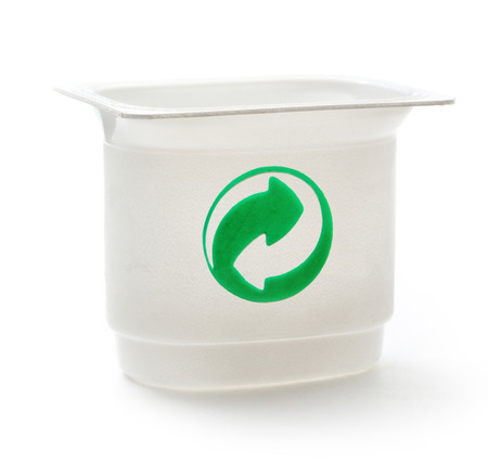 grune: Empty plastic yoghurt pot on white Stock Photo