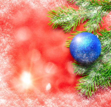 Firtree and Christmas tree decoration with rime photo
