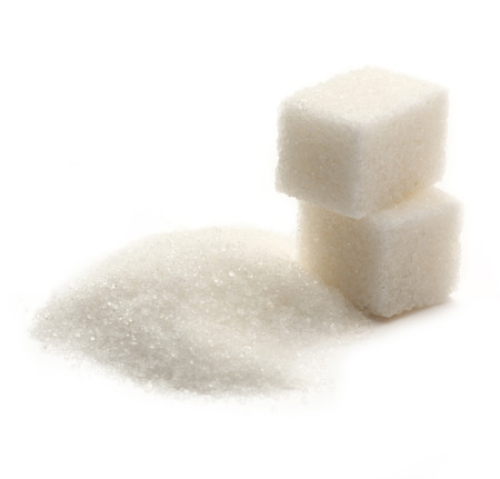 granular: Sugar cubes on white background