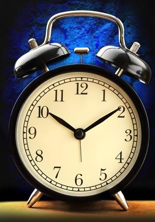alarmclock: Black and white classic alarm clock Stock Photo