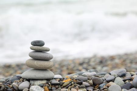 Seashore with stone construction photo