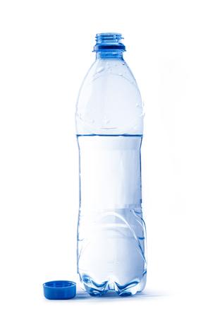 Open plastic bottle of water