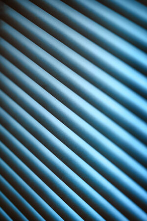 jalousie: Metal jalousie background in blue toning