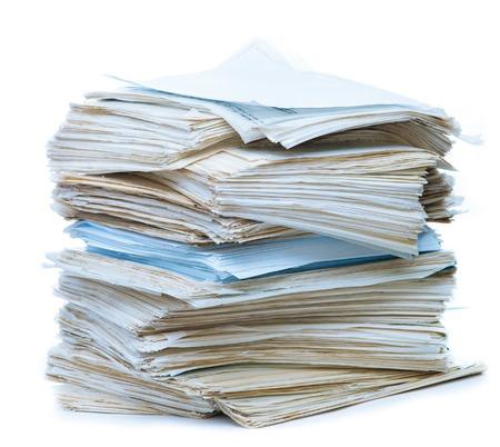 오래 된 종이 문서의 스택 스톡 콘텐츠