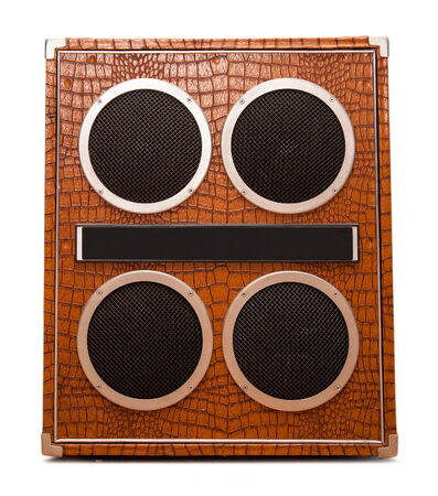 Column speaker on white closeup photo