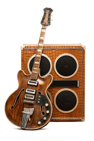 Electric guitar and column speaker photo