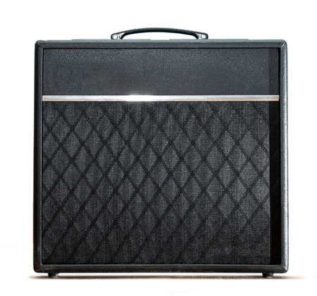 Guitar amplifier box on white background photo