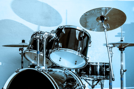 bass drum: Drum and bass set in closeup Stock Photo