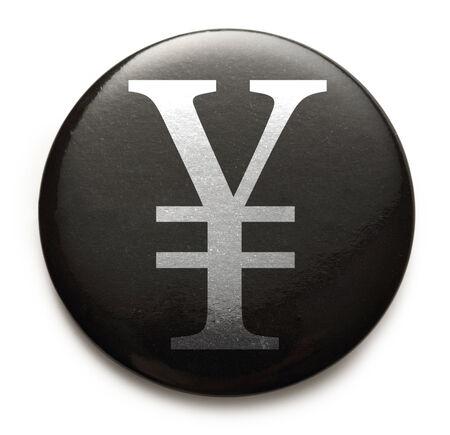 yen sign: Yen sign on black button
