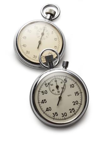 Two stopwatches on white background photo