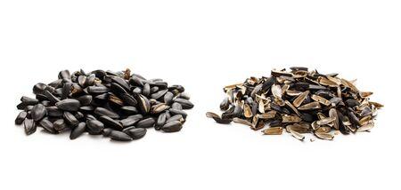 husks: Sunflower seeds and husks on white background