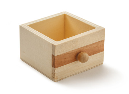 drawer: Wooden chest drawer box on white background Stock Photo