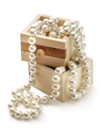 pearl background: Small wooden chest with white pearl necklace Stock Photo