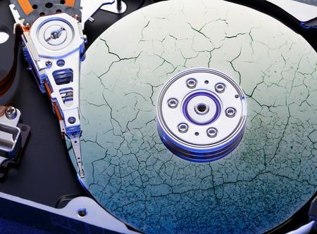 Hard drive computer disk inside in closeup Stock Photo