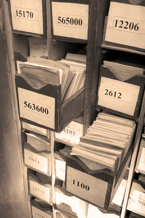 organized: Drawer with business papers organized in archive Stock Photo
