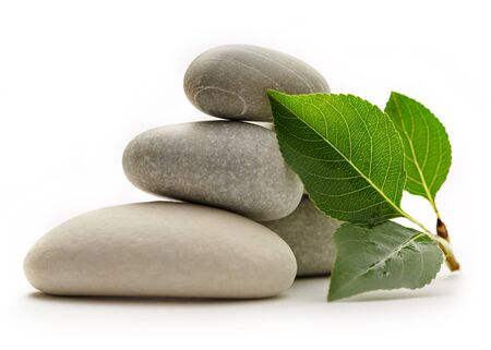 wellness environment: Stones with leaves on the white background