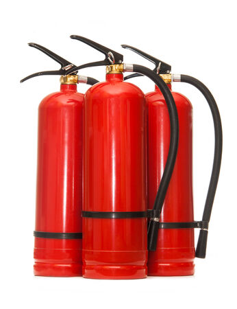 fire extinguishers: New blank red fire extinguishers in closeup Stock Photo