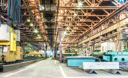 Machine shop of metallurgical works indoors room Banco de Imagens