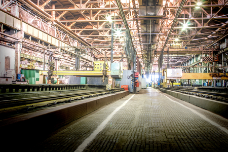 heavy industry: Machine shop of metallurgical works indoors room Stock Photo