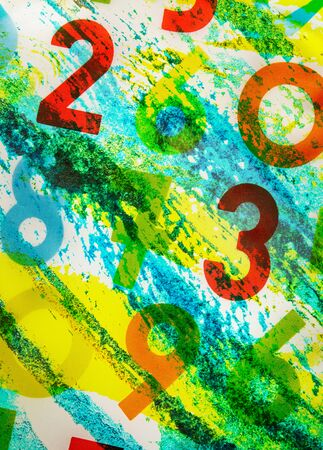 simbolos matematicos: Colourful numbers as background on white canvas Foto de archivo