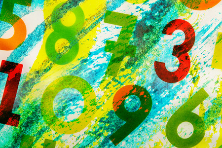 jumbled: Colourful numbers as background on white canvas Stock Photo