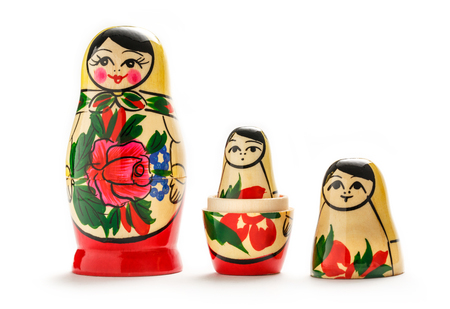 doll: Russian dolls matreshka on the white background Stock Photo