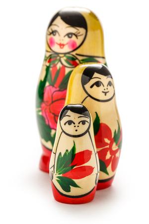 matreshka: Russian dolls matreshka on the white background Stock Photo