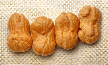 choux bun: Pastry dough eclairs with vanilla cream inside
