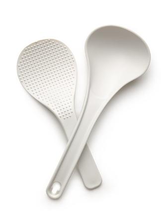 White spatula and ladle isolated on the white background photo
