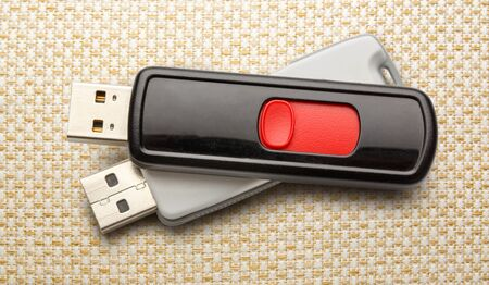 microdrive: Usb flash drives on the cloth background