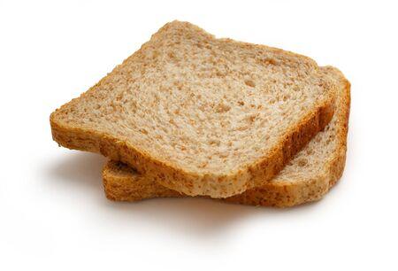 comiendo pan: Dos rebanadas de pan en el fondo blanco
