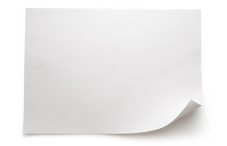 paper notes: Blank sheet of paper on white background