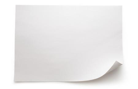 hoja en blanco: Hoja en blanco del papel sobre fondo blanco Foto de archivo