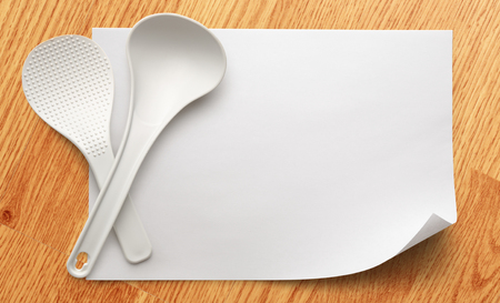ladles: Blank white sheet of paper with ladles Stock Photo