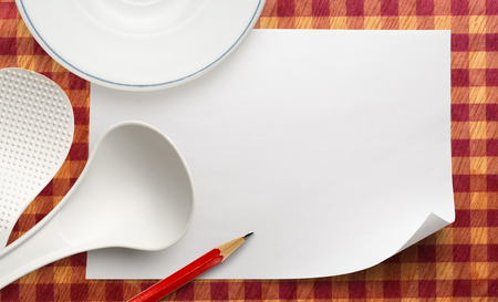 ladles: Blank white sheet of paper with ladles and plate