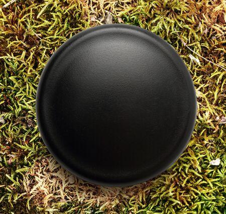button grass: Blank black round badge on background Stock Photo